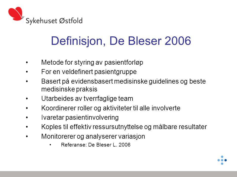Definisjon, De Bleser 2006 Metode for styring av pasientforløp For en veldefinert pasientgruppe Basert på evidensbasert medisinske guidelines og beste