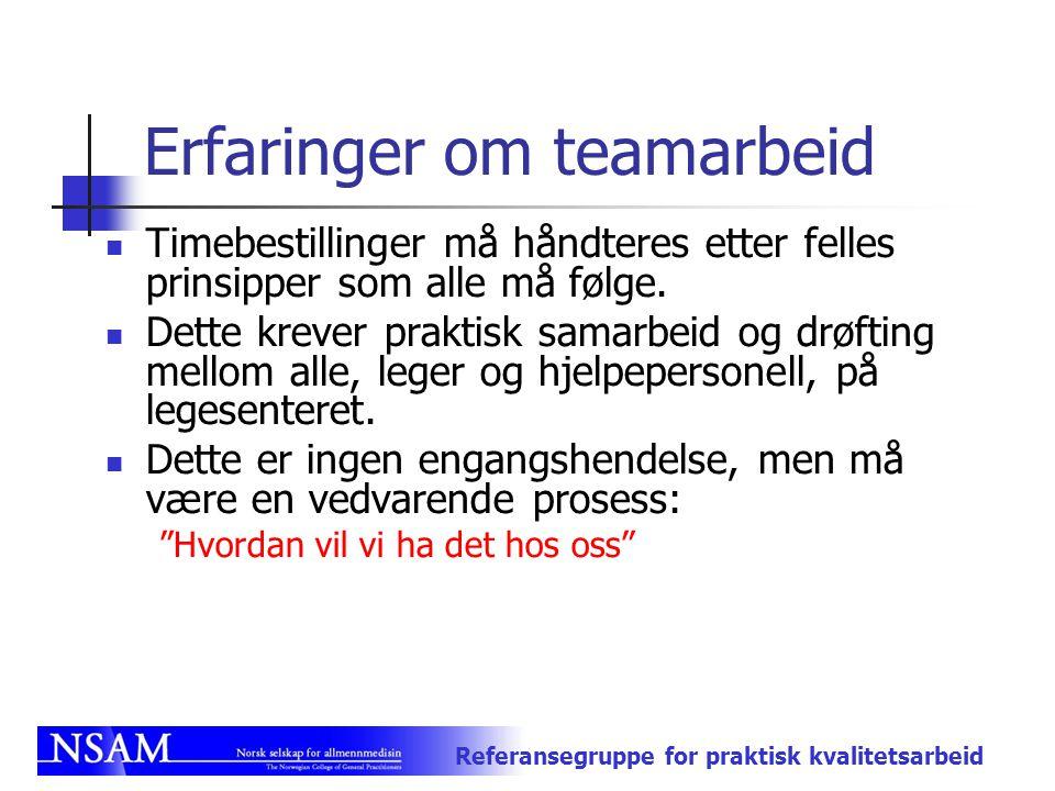 Referansegruppe for praktisk kvalitetsarbeid Erfaringer om teamarbeid Timebestillinger må håndteres etter felles prinsipper som alle må følge. Dette k