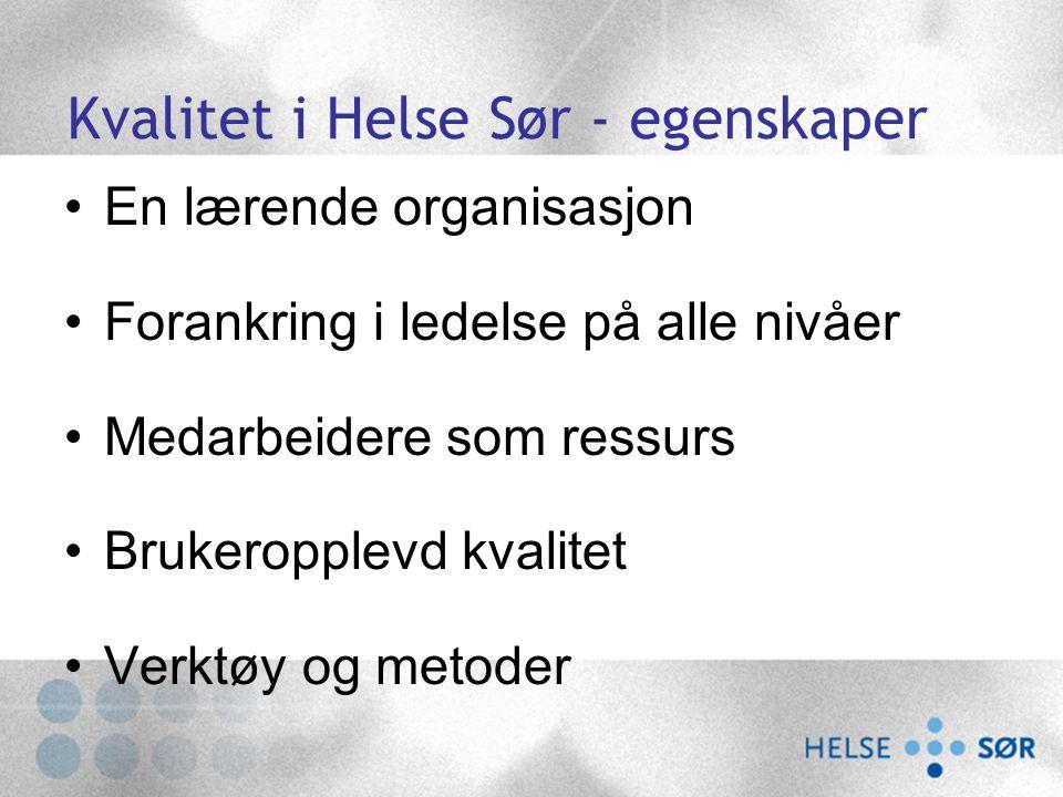 Kvalitet i Helse Sør - egenskaper En lærende organisasjon Forankring i ledelse på alle nivåer Medarbeidere som ressurs Brukeropplevd kvalitet Verktøy