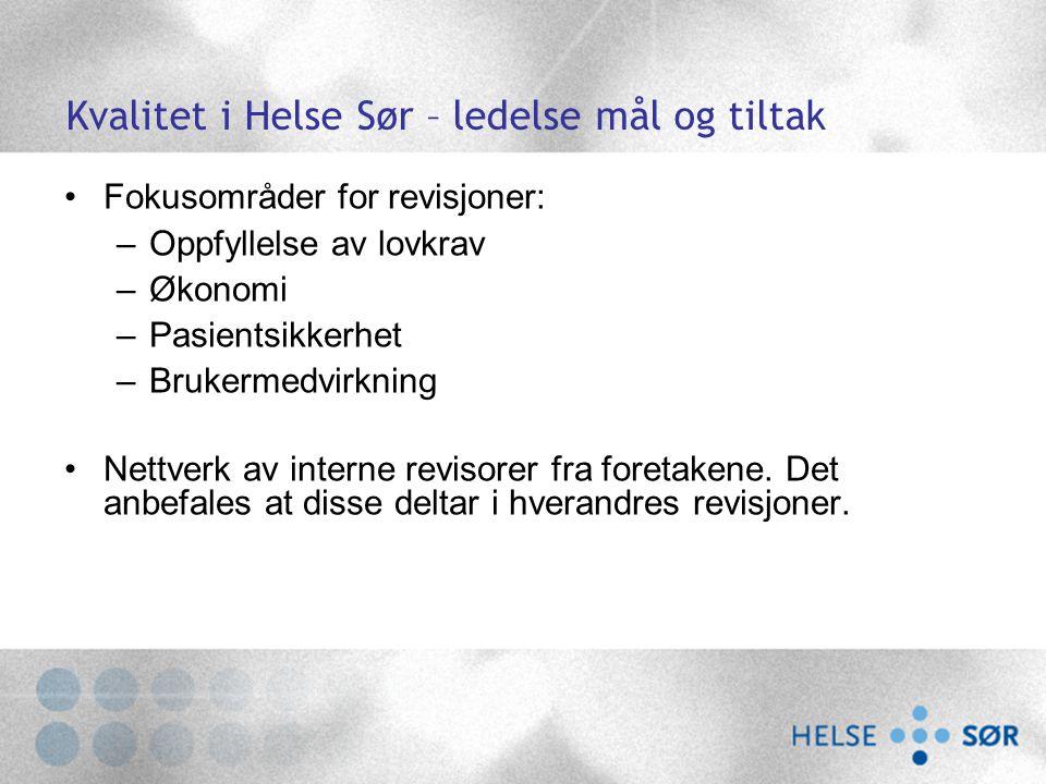 Kvalitet i Helse Sør – ledelse mål og tiltak Fokusområder for revisjoner: –Oppfyllelse av lovkrav –Økonomi –Pasientsikkerhet –Brukermedvirkning Nettve