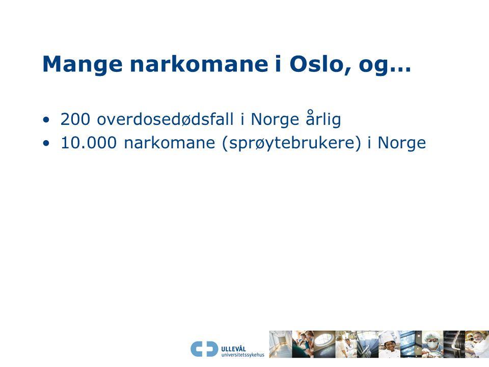 Mange narkomane i Oslo, og… 200 overdosedødsfall i Norge årlig 10.000 narkomane (sprøytebrukere) i Norge