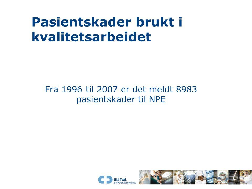 Pasientskader brukt i kvalitetsarbeidet Fra 1996 til 2007 er det meldt 8983 pasientskader til NPE