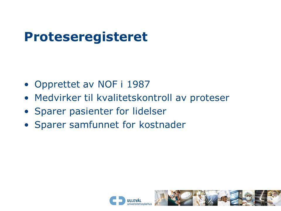 Proteseregisteret Opprettet av NOF i 1987 Medvirker til kvalitetskontroll av proteser Sparer pasienter for lidelser Sparer samfunnet for kostnader