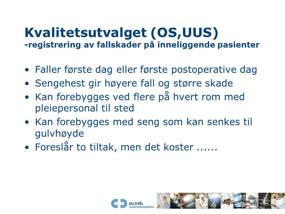 Kvalitetsutvalget (OS,UUS) -registrering av fallskader på inneliggende pasienter Faller første dag eller første postoperative dag Sengehest gir høyere