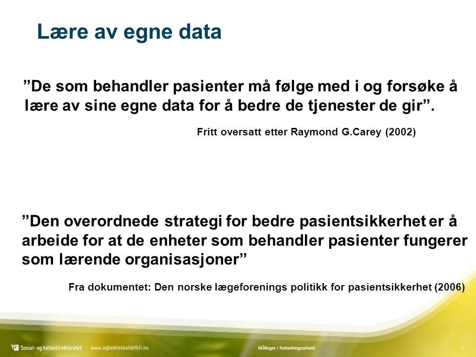 2Målinger i forbedringsarbeid Lære av egne data De som behandler pasienter må følge med i og forsøke å lære av sine egne data for å bedre de tjenester de gir .