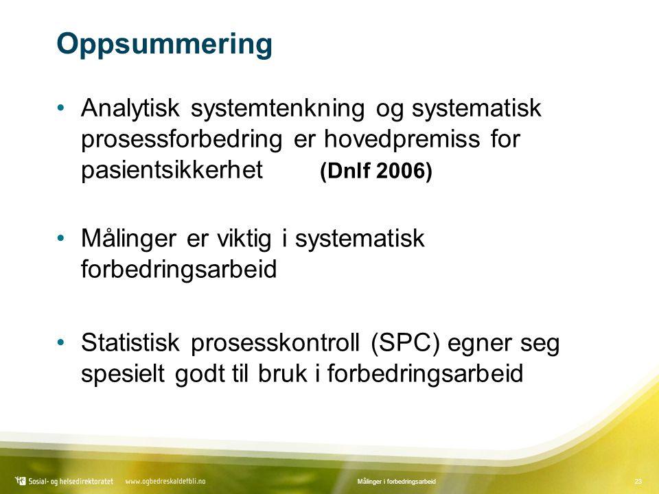 23Målinger i forbedringsarbeid Oppsummering Analytisk systemtenkning og systematisk prosessforbedring er hovedpremiss for pasientsikkerhet (Dnlf 2006) Målinger er viktig i systematisk forbedringsarbeid Statistisk prosesskontroll (SPC) egner seg spesielt godt til bruk i forbedringsarbeid