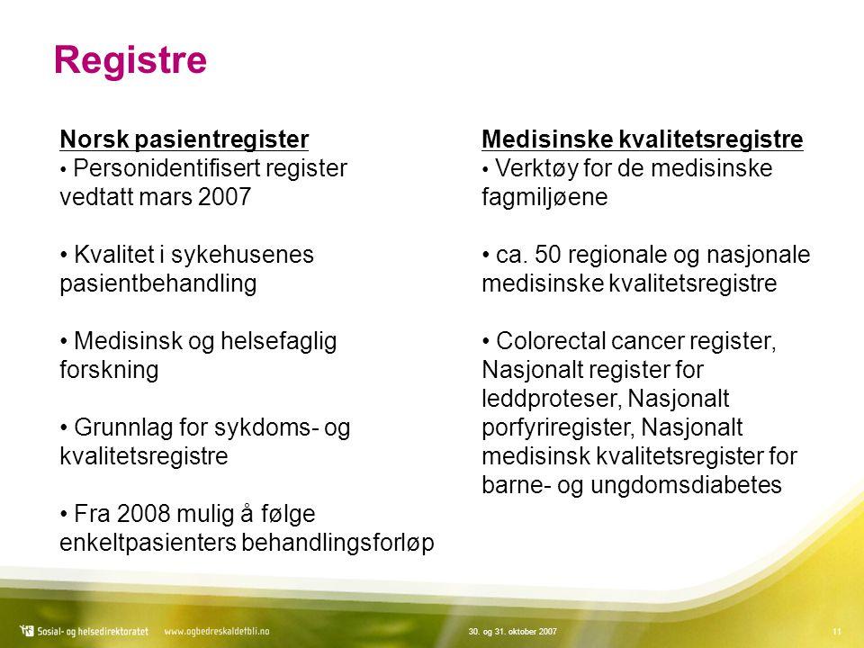 1130. og 31. oktober 2007 Registre Norsk pasientregister Personidentifisert register vedtatt mars 2007 Kvalitet i sykehusenes pasientbehandling Medisi