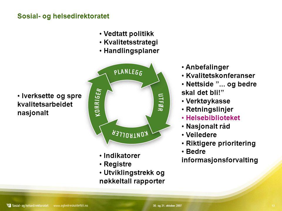 """1330. og 31. oktober 2007 Sosial- og helsedirektoratet Vedtatt politikk Kvalitetsstrategi Handlingsplaner Anbefalinger Kvalitetskonferanser Nettside """""""