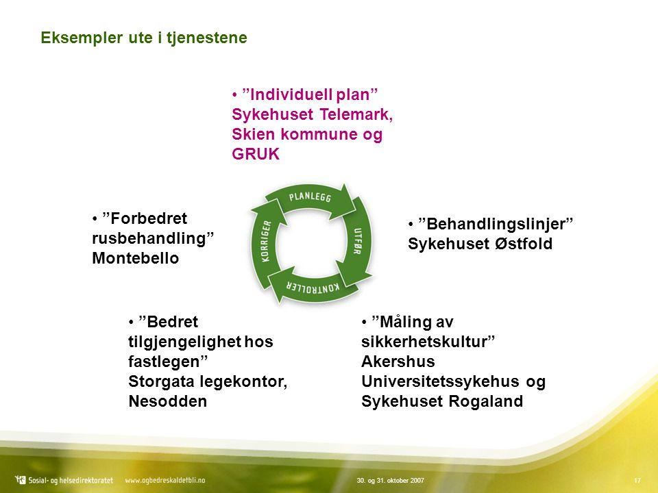 """1730. og 31. oktober 2007 Eksempler ute i tjenestene """"Individuell plan"""" Sykehuset Telemark, Skien kommune og GRUK """"Behandlingslinjer"""" Sykehuset Østfol"""