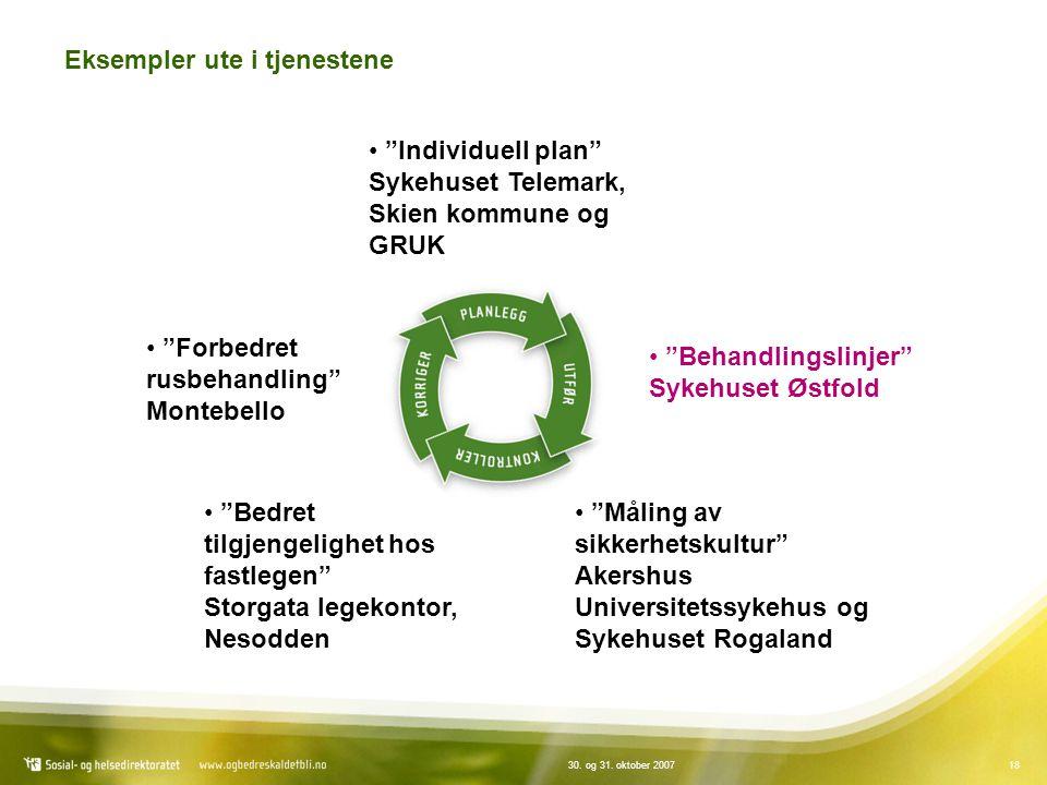 """1830. og 31. oktober 2007 Eksempler ute i tjenestene """"Individuell plan"""" Sykehuset Telemark, Skien kommune og GRUK """"Behandlingslinjer"""" Sykehuset Østfol"""