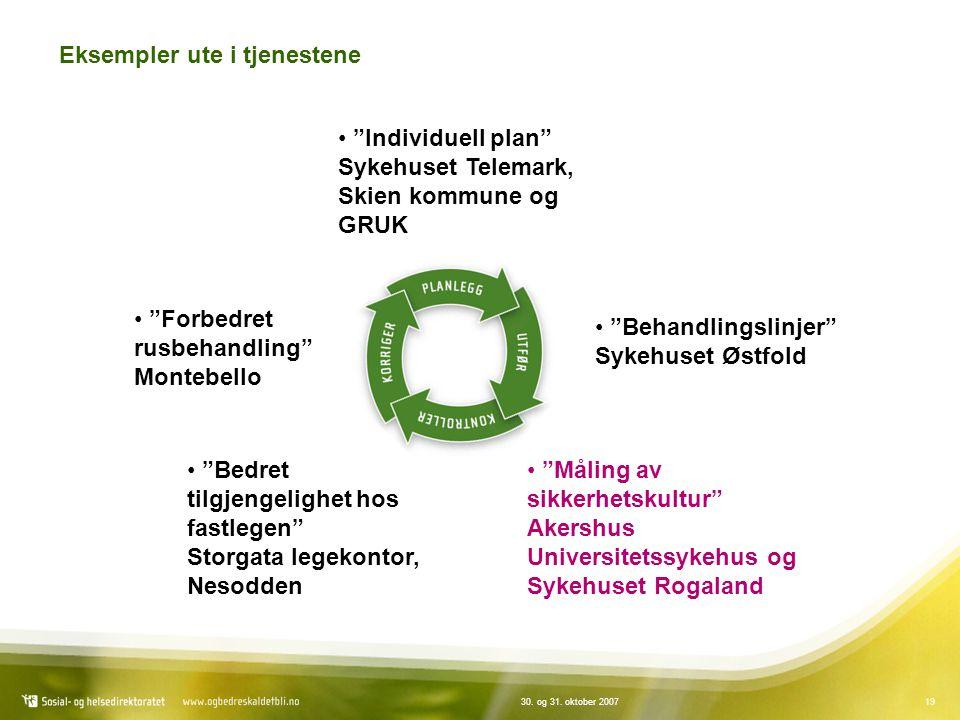 """1930. og 31. oktober 2007 Eksempler ute i tjenestene """"Individuell plan"""" Sykehuset Telemark, Skien kommune og GRUK """"Behandlingslinjer"""" Sykehuset Østfol"""