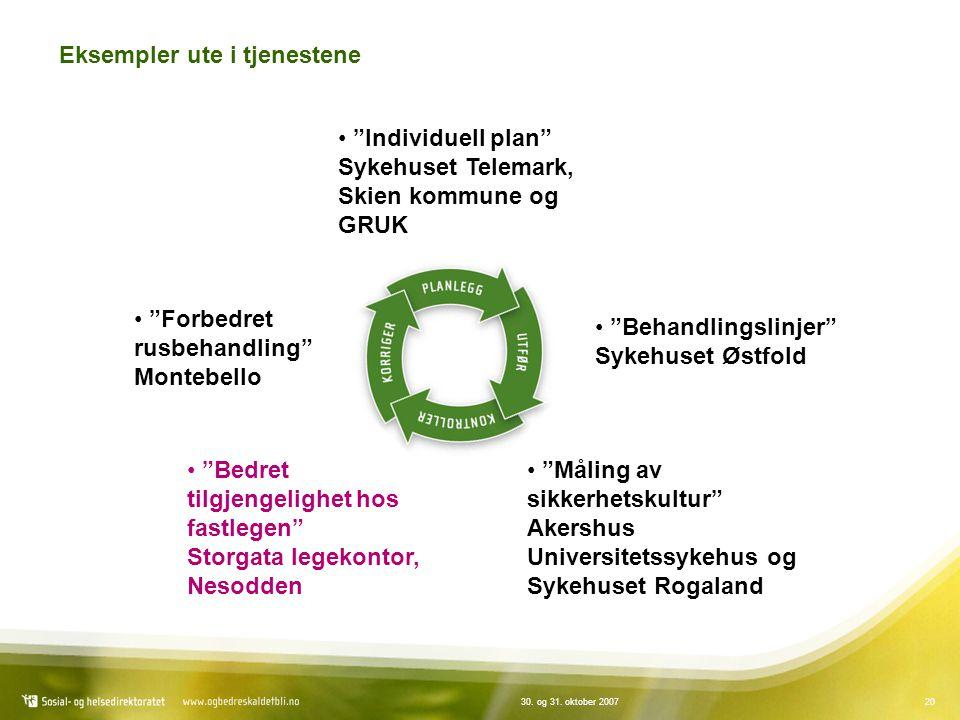 """2030. og 31. oktober 2007 Eksempler ute i tjenestene """"Individuell plan"""" Sykehuset Telemark, Skien kommune og GRUK """"Behandlingslinjer"""" Sykehuset Østfol"""