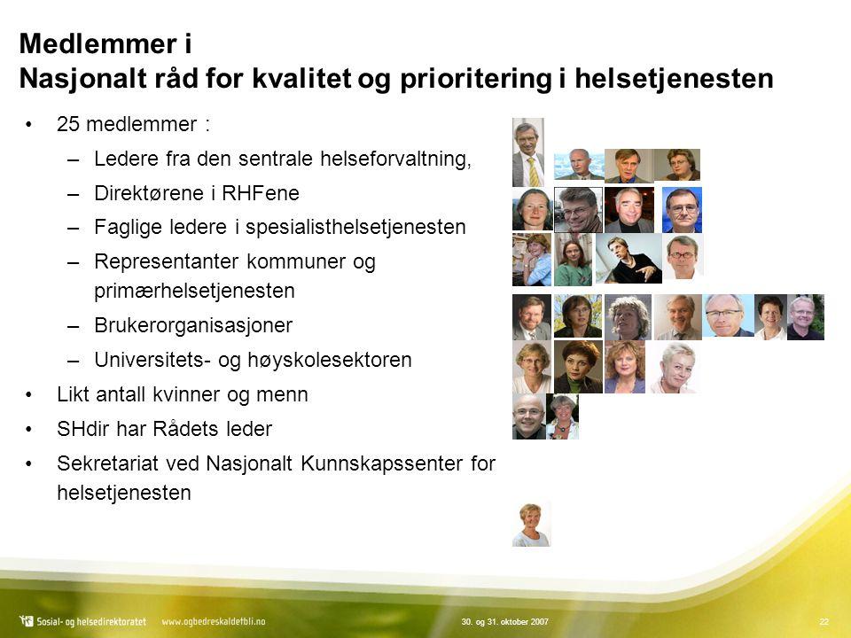 2230. og 31. oktober 2007 Medlemmer i Nasjonalt råd for kvalitet og prioritering i helsetjenesten 25 medlemmer : –Ledere fra den sentrale helseforvalt