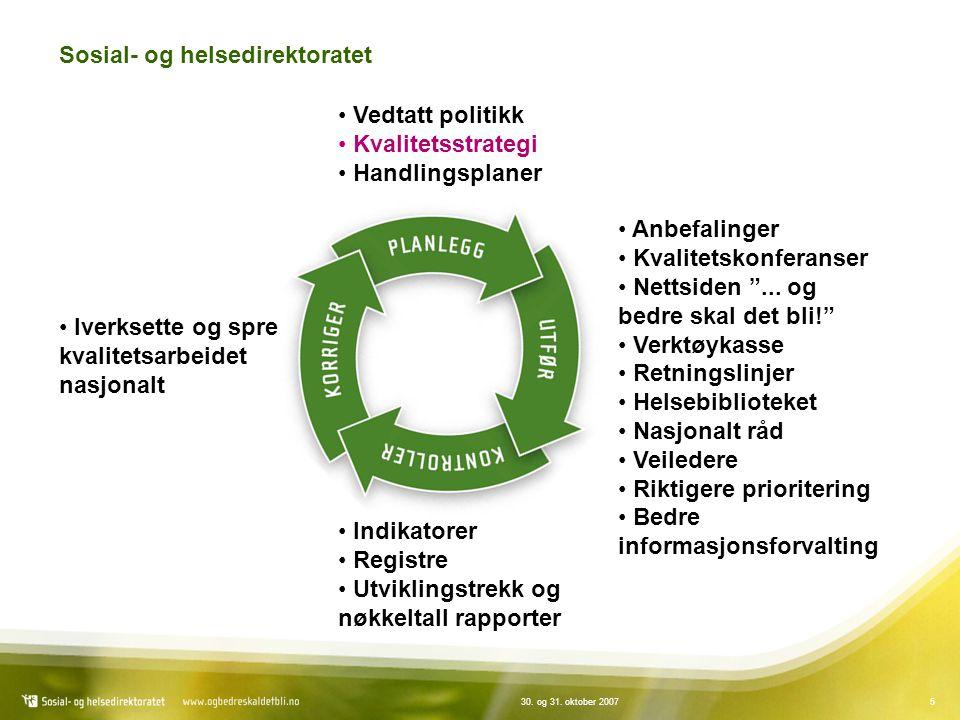 """530. og 31. oktober 2007 Sosial- og helsedirektoratet Vedtatt politikk Kvalitetsstrategi Handlingsplaner Anbefalinger Kvalitetskonferanser Nettsiden """""""