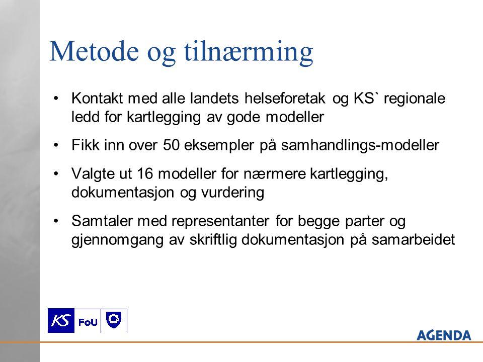 Kriterier for å velge ut modeller: 1.Samarbeidsmodellene skal være basert på likeverd mellom foretak og kommune 2.Samarbeidet skal ha fungert over tid 3.Det skal være formulert mål for samarbeidet og det skal være mulig å dokumentere resultater 4.Modellene skal omhandle pasientgrupper som er viktige for begge nivåer, og kravet til samarbeid, samordning og samhandling skal være stort 3