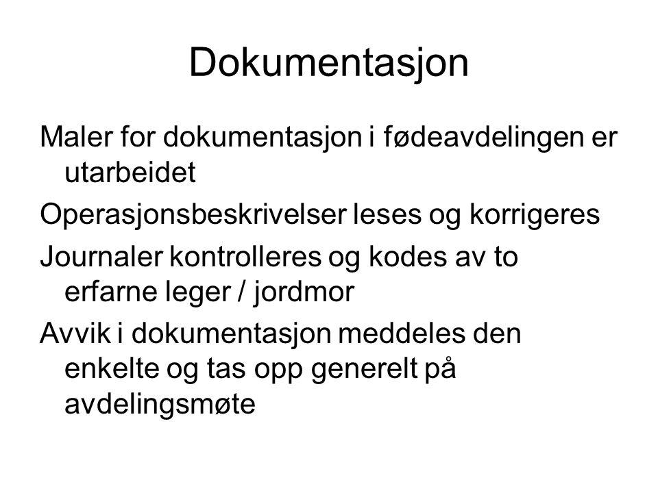 Dokumentasjon Maler for dokumentasjon i fødeavdelingen er utarbeidet Operasjonsbeskrivelser leses og korrigeres Journaler kontrolleres og kodes av to