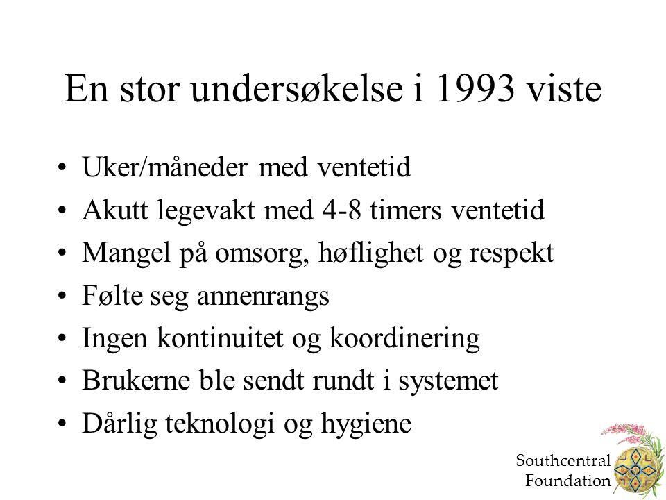 En stor undersøkelse i 1993 viste Uker/måneder med ventetid Akutt legevakt med 4-8 timers ventetid Mangel på omsorg, høflighet og respekt Følte seg an