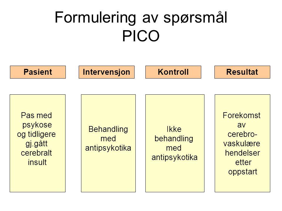 Formulering av spørsmål PICO Pas med psykose og tidligere gj.gått cerebralt insult Behandling med antipsykotika Forekomst av cerebro- vaskulære hendel