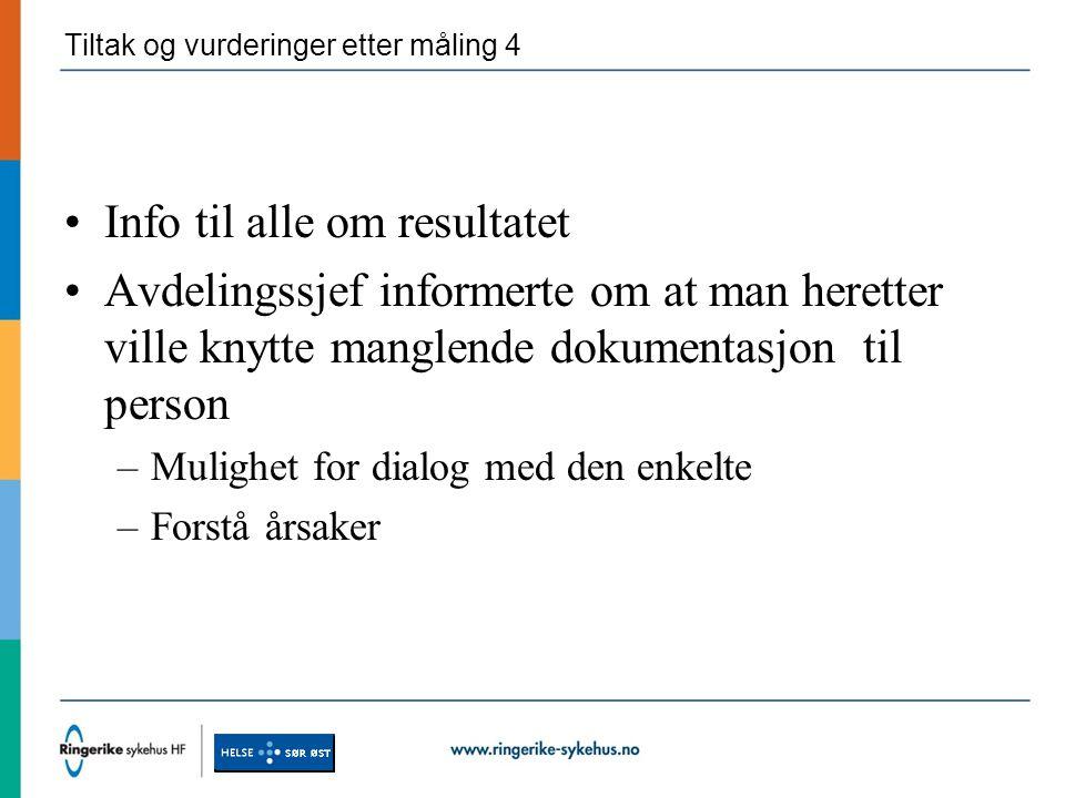 Tiltak og vurderinger etter måling 4 Info til alle om resultatet Avdelingssjef informerte om at man heretter ville knytte manglende dokumentasjon til person –Mulighet for dialog med den enkelte –Forstå årsaker