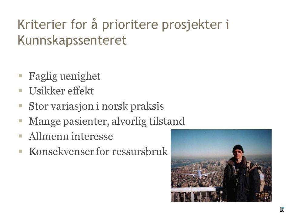 Kriterier for å prioritere prosjekter i Kunnskapssenteret  Faglig uenighet  Usikker effekt  Stor variasjon i norsk praksis  Mange pasienter, alvor