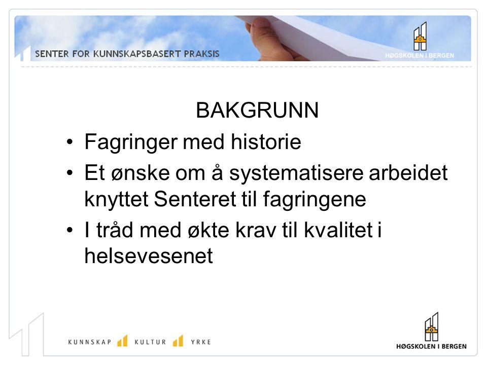 BAKGRUNN Fagringer med historie Et ønske om å systematisere arbeidet knyttet Senteret til fagringene I tråd med økte krav til kvalitet i helsevesenet