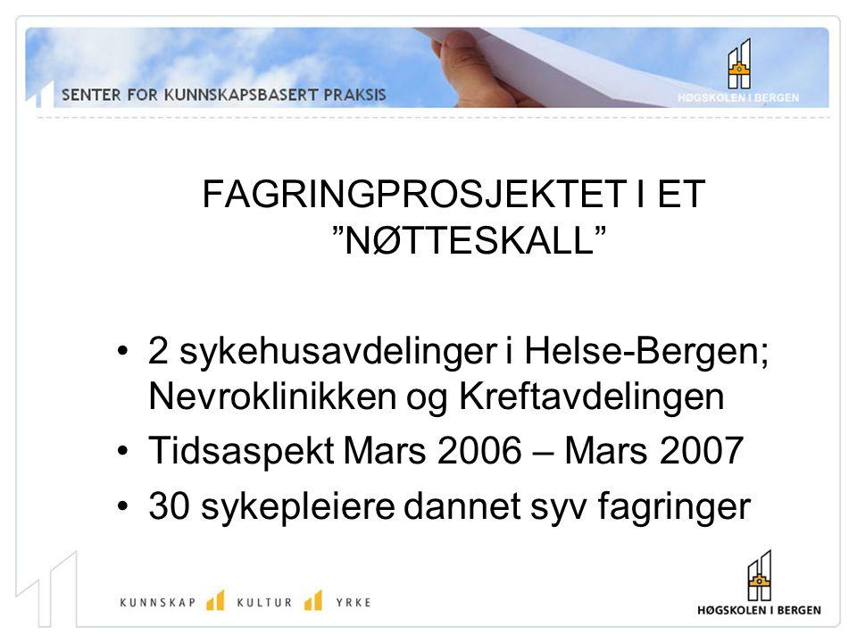 FAGRINGPROSJEKTET I ET NØTTESKALL 2 sykehusavdelinger i Helse-Bergen; Nevroklinikken og Kreftavdelingen Tidsaspekt Mars 2006 – Mars 2007 30 sykepleiere dannet syv fagringer