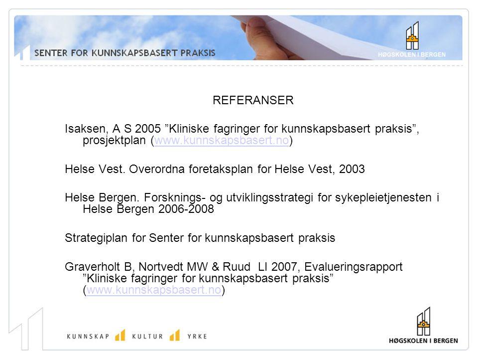 REFERANSER Isaksen, A S 2005 Kliniske fagringer for kunnskapsbasert praksis , prosjektplan (www.kunnskapsbasert.no)www.kunnskapsbasert.no Helse Vest.