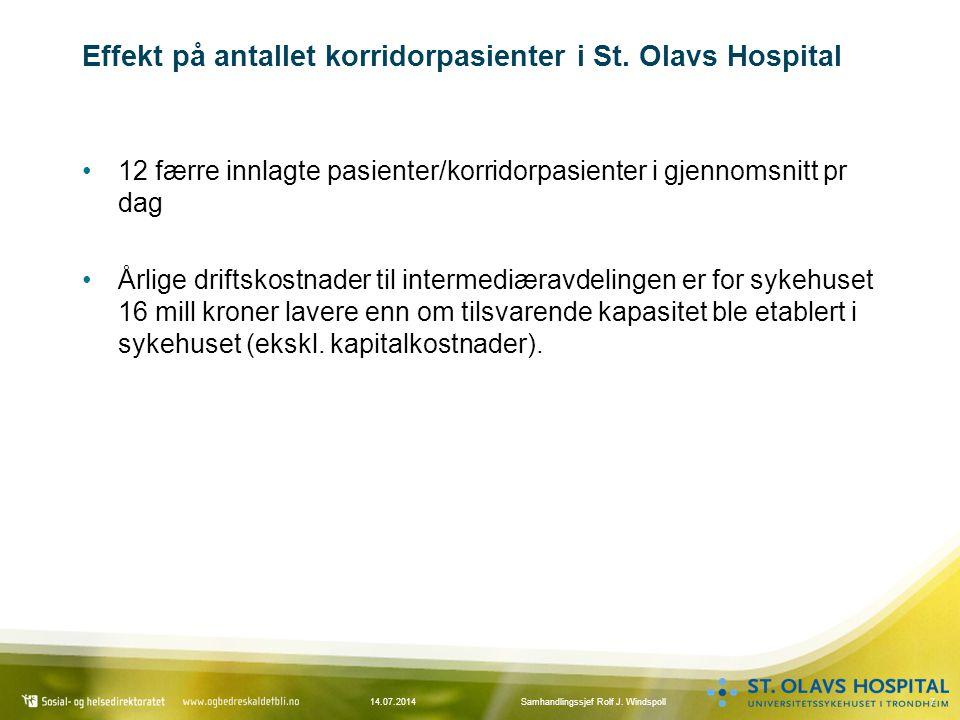 714.07.2014Samhandlingssjef Rolf J. Windspoll Effekt på antallet korridorpasienter i St. Olavs Hospital 12 færre innlagte pasienter/korridorpasienter