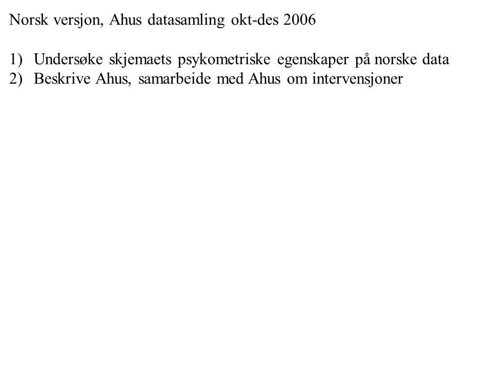 Norsk versjon, Ahus datasamling okt-des 2006 1)Undersøke skjemaets psykometriske egenskaper på norske data 2)Beskrive Ahus, samarbeide med Ahus om int
