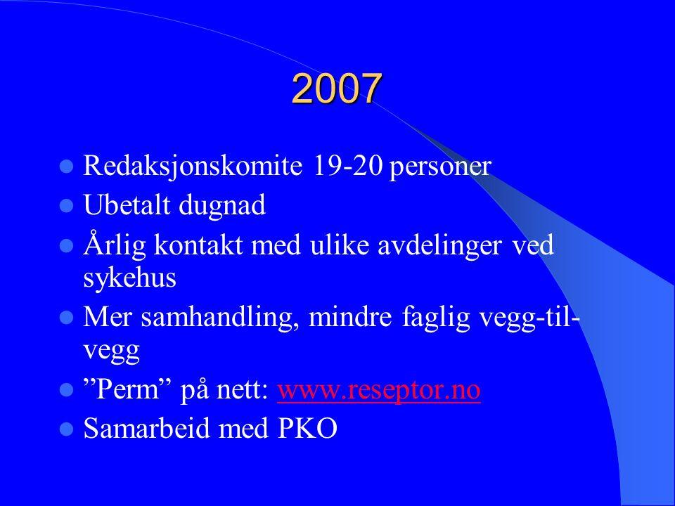 2007 Redaksjonskomite 19-20 personer Ubetalt dugnad Årlig kontakt med ulike avdelinger ved sykehus Mer samhandling, mindre faglig vegg-til- vegg Perm på nett: www.reseptor.nowww.reseptor.no Samarbeid med PKO