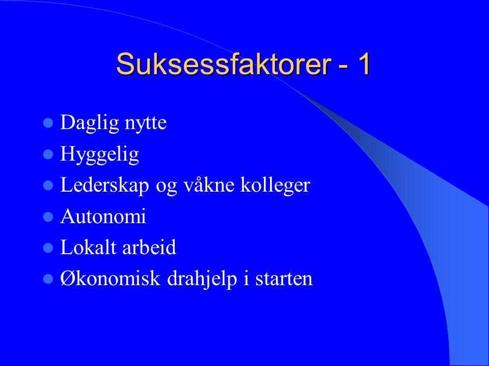 Suksessfaktorer - 1 Daglig nytte Hyggelig Lederskap og våkne kolleger Autonomi Lokalt arbeid Økonomisk drahjelp i starten
