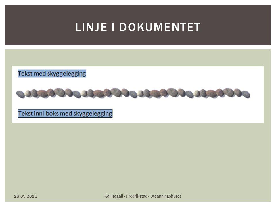 28.09.2011Kai Hagali - Fredrikstad - Utdanningshuset LINJE I DOKUMENTET