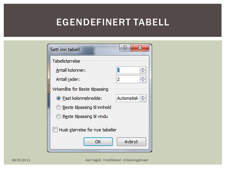 28.09.2011Kai Hagali - Fredrikstad - Utdanningshuset EGENDEFINERT TABELL
