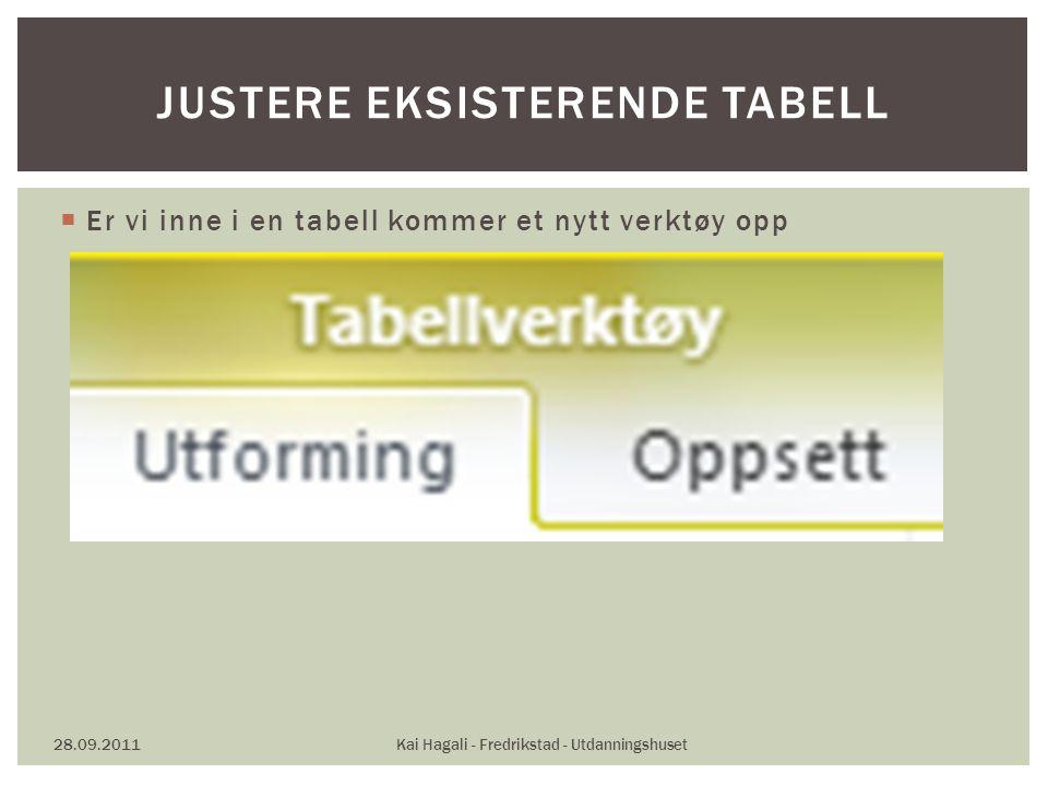  Er vi inne i en tabell kommer et nytt verktøy opp 28.09.2011Kai Hagali - Fredrikstad - Utdanningshuset JUSTERE EKSISTERENDE TABELL