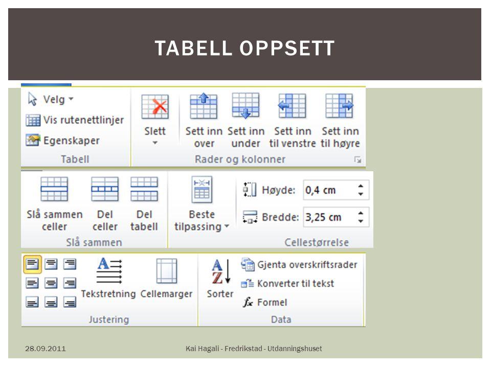 28.09.2011Kai Hagali - Fredrikstad - Utdanningshuset TABELL OPPSETT