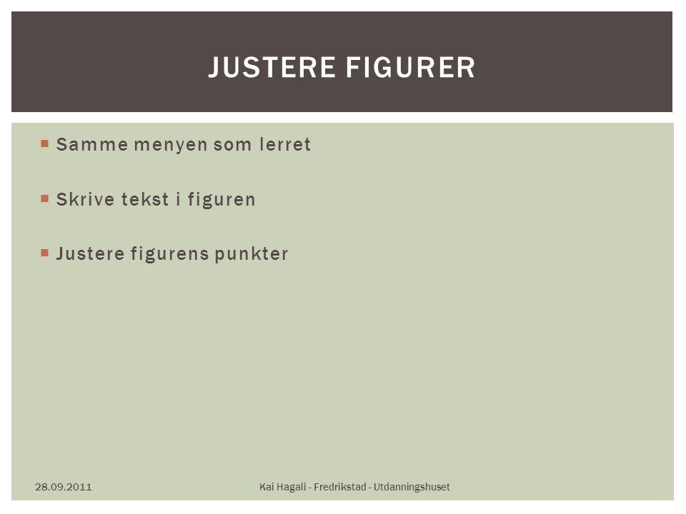  Samme menyen som lerret  Skrive tekst i figuren  Justere figurens punkter 28.09.2011Kai Hagali - Fredrikstad - Utdanningshuset JUSTERE FIGURER