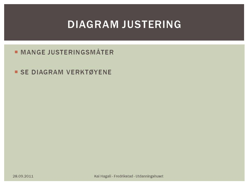  MANGE JUSTERINGSMÅTER  SE DIAGRAM VERKTØYENE 28.09.2011Kai Hagali - Fredrikstad - Utdanningshuset DIAGRAM JUSTERING