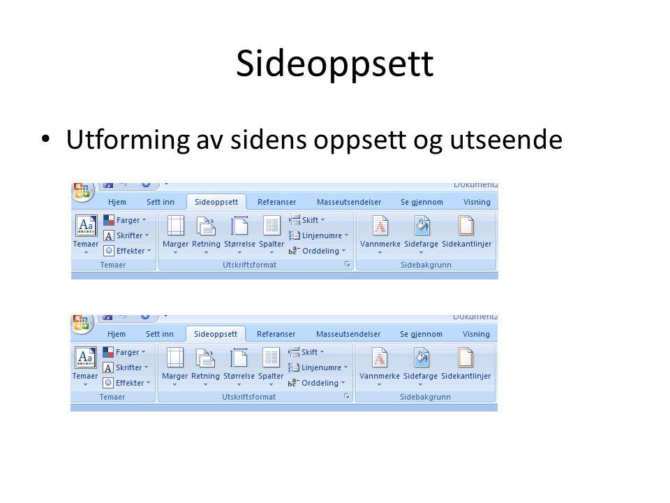 Sideoppsett Utforming av sidens oppsett og utseende