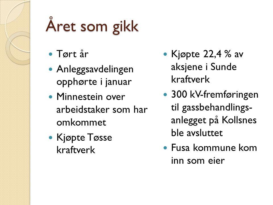 Året som gikk Tørt år Anleggsavdelingen opphørte i januar Minnestein over arbeidstaker som har omkommet Kjøpte Tøsse kraftverk Kjøpte 22,4 % av aksjene i Sunde kraftverk 300 kV-fremføringen til gassbehandlings- anlegget på Kollsnes ble avsluttet Fusa kommune kom inn som eier