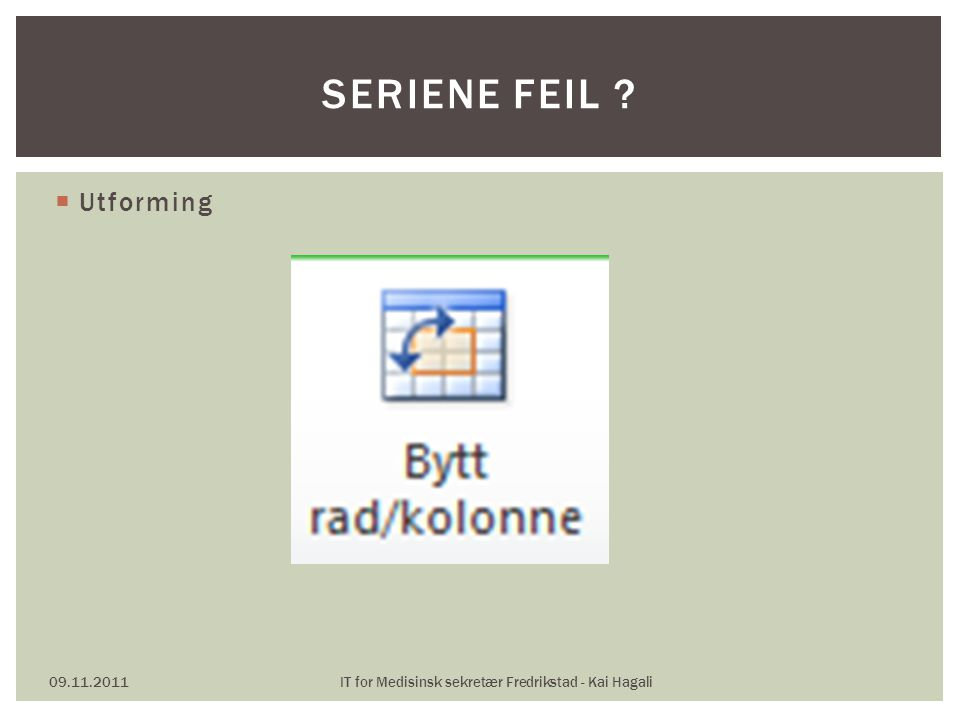  Utforming 09.11.2011IT for Medisinsk sekretær Fredrikstad - Kai Hagali SERIENE FEIL ?