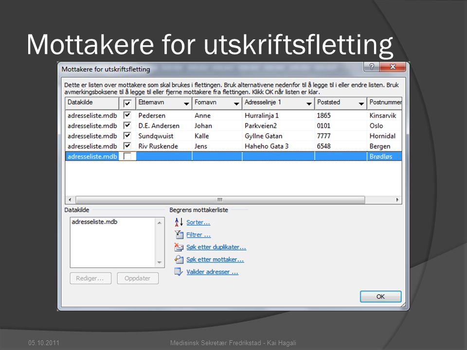 Mottakere for utskriftsfletting 05.10.2011Medisinsk Sekretær Fredrikstad - Kai Hagali