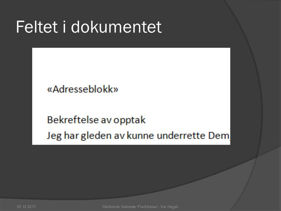 Feltet i dokumentet 05.10.2011Medisinsk Sekretær Fredrikstad - Kai Hagali