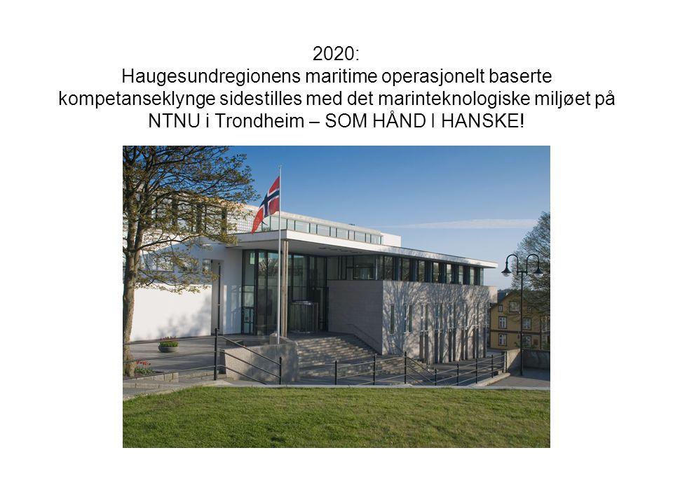 2020: Haugesundregionens maritime operasjonelt baserte kompetanseklynge sidestilles med det marinteknologiske miljøet på NTNU i Trondheim – SOM HÅND I HANSKE!