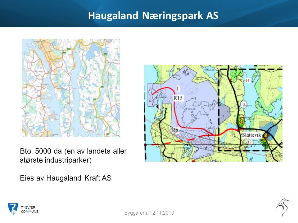 TYSVÆR KOMMUNE Haugaland Næringspark AS Byggarena 12.11.2010 Bto. 5000 da (en av landets aller største industriparker) Eies av Haugaland Kraft AS