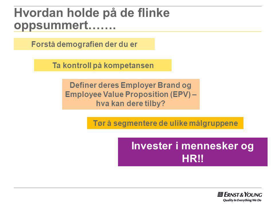 Hvordan holde på de flinke oppsummert……. Forstå demografien der du er Ta kontroll på kompetansen Invester i mennesker og HR!! Definer deres Employer B