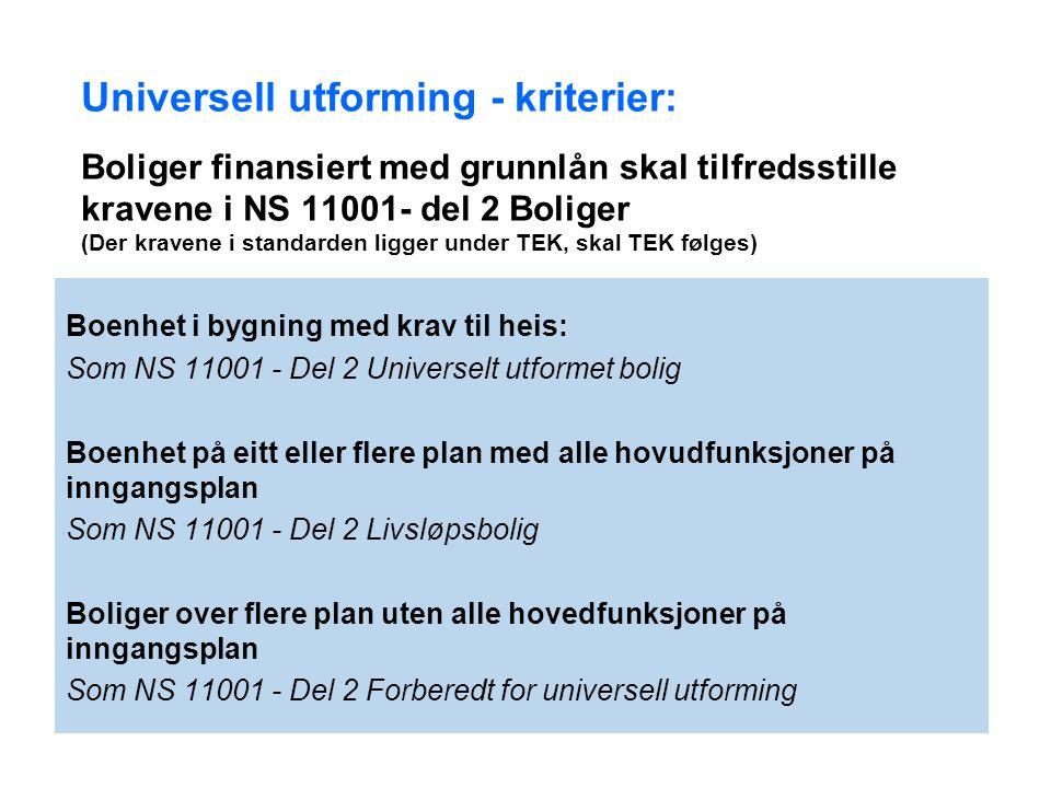14. jul. 2014 12 Universell utforming - kriterier: Boliger finansiert med grunnlån skal tilfredsstille kravene i NS 11001- del 2 Boliger (Der kravene