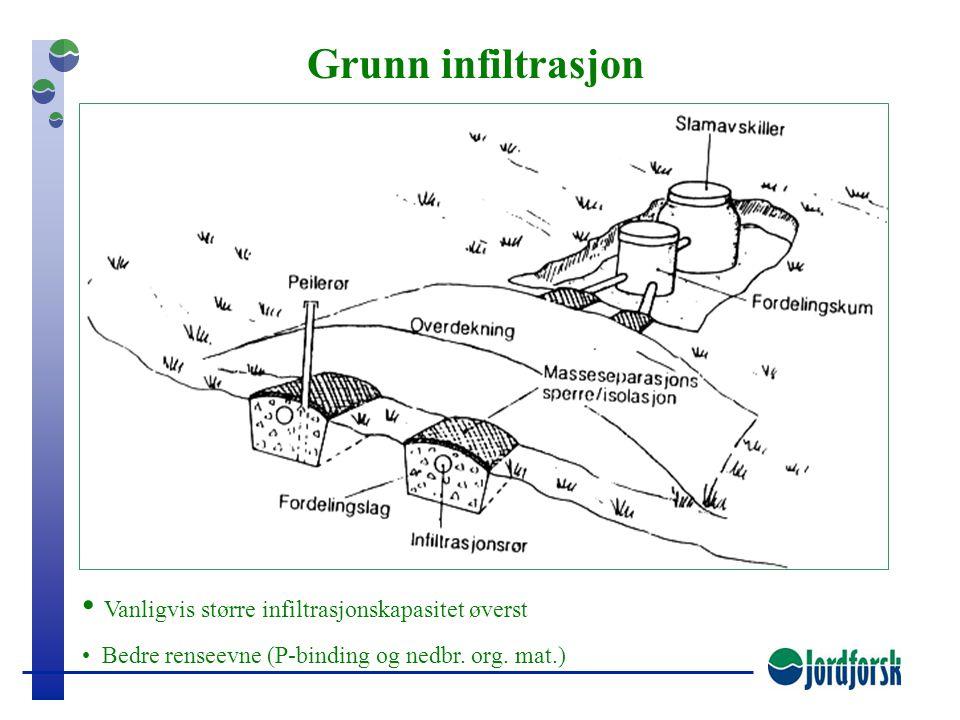 Isolasjon/ masseseparasjon FordelingslagSprederør Stedlige masser 60 cm Infiltrasjon av slamavskilt avløpsvann Rimeligste og beste løsning, men foruts