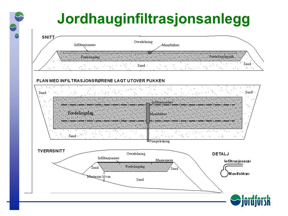 Grunn infiltrasjon Vanligvis større infiltrasjonskapasitet øverst Bedre renseevne (P-binding og nedbr. org. mat.)
