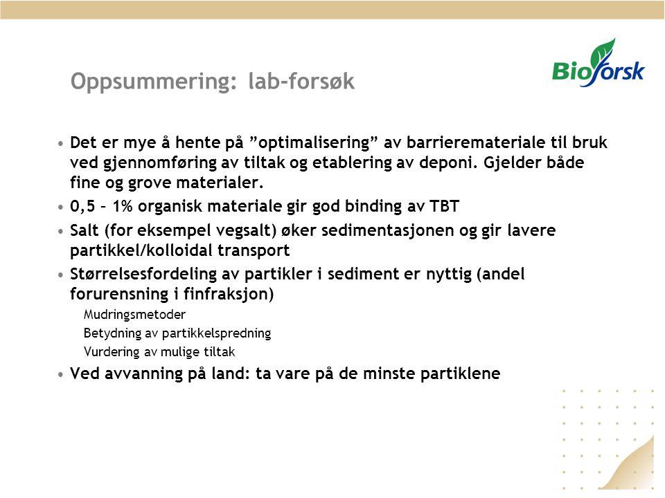 """Oppsummering: lab-forsøk Det er mye å hente på """"optimalisering"""" av barrieremateriale til bruk ved gjennomføring av tiltak og etablering av deponi. Gje"""
