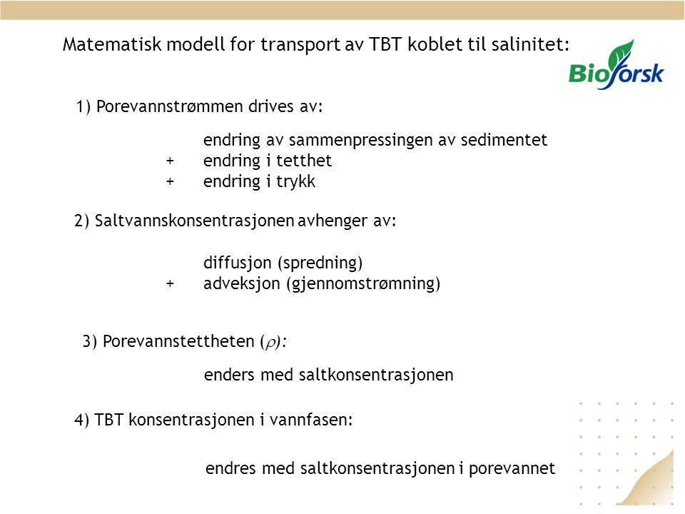 Matematisk modell for transport av TBT koblet til salinitet: 1) Porevannstrømmen drives av: endring av sammenpressingen av sedimentet + endring i tett